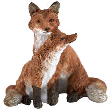 """Mini Red Fox Mother With Baby Kit Pup Figurine 2"""" High New In Box!"""