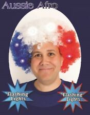 FLASHING LED Blue Red White AFRO WIG Australia Commonwealth Olympic Clown Party