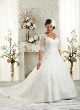 Plus Size White/Ivory Bridal Gown Half Sleeve Wedding Dress Stock Size:14---26