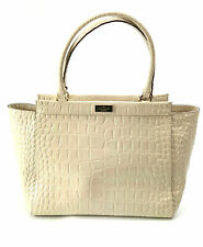 KATE SPADE Ivory Croco Grained Leather Alice Ridgely Avenue Tote Bag Handbag