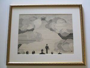 ANTIQUE  PAINTING DRAWING ART DECO HALL OF FAME ILLUSTRATION POINTILLIST MODERN