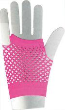 Netzhandschuhe kurz neon-pink NEU - Zubehör Accessoire Karneval Fasching