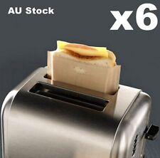 6x Non-stick Toast Bag Toaster Bag Toasty Oven Sandwish Baking Pocket 17x19cm AU