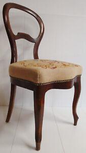 Antik Biedermeier mit Gobelin Stoff Stickerei Sessel Stuhl Salonsessel um 1900