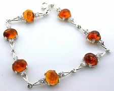 .925 Sterling Silver 10x8 Oval Baltic Amber CZ Accent 8 3/4 Inch Link Bracelet