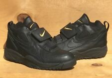 Vintage 1995 Nike Air Grid Trainer Mid Leather Diamond Turf Black/Gold Size 10