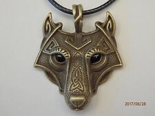 Antique Bronze Norse Vikings Large Wolf Head Pendant Black Necklace Cord
