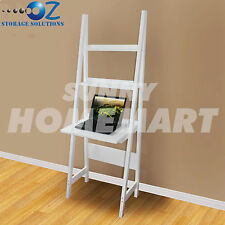 Wooden Desk Ladder Shelf New White 3 Tier French Style BOOK DVD HOME DECOR 180CM