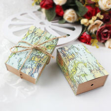 100x World Map Drawer Cand Paper Gift Box Wedding Party Birthday Favour Bags Box