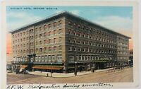 Vintage Saginaw Michigan MI Bancroft Hotel Postcard 1933 Old Cars