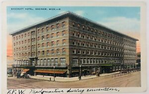 Vintage Saginaw Michigan MI Bancroft Hotel Postcard 1933 Old Cars