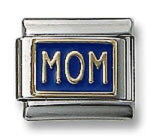 Italian Charm Bracelet Link 9mm MOM Blue Enamel 18K Gold Mothers Day Gift
