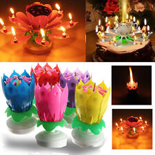 US Musical Birthday Blossom Lotus Flower Candle Lamp Romantic Party Decor Gift