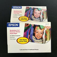"Lot of 2 Epson Photo Paper S041727 100 Sheets 4""x6"" Premium Borderless"
