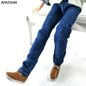 Blue 1/6 Doll Clothes Handmade Jeans Pants For Ken Prince Boy Doll Wear Trousers