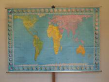 Wandkarte Welt Erde flächentreu 227x156~1970 world map in equal area projection