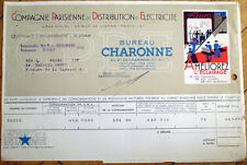 Paris Electric Co. 1935 Color Letterhead: Cie. Parisienne Electricite - France