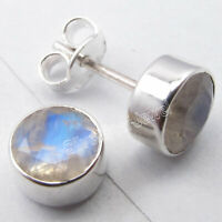 "Cut Rainbow Moonstone 2.8 TCW Stud Earrings 0.3"" Women Jewelry Sterling Silver"
