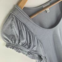 WITCHERY Grey T-Shirt Scoop Neck Ruffle Sleeves Size Extra Small XS Gray GUC
