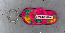 I LOVE NICHOLAS Rubber Flip Flop Name Key Ring Stocking Stuffer Flower Power