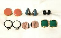 Vintage Clip on Earrings Lot- Enamel Gold and Silver, Pink, Blue, Green, Black