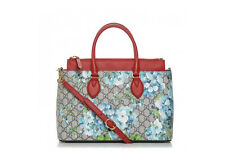3aa9eabe396a Gucci GG Supreme Monogram Small Blooms Print Medium Blue Coated Canvas Tote