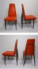 Set of 4 - Vintage Mid Century Modern Atomic Steel Orange Vinyl Diner Chairs
