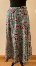 Anokhi for East Maxi Skirt size 14 Green Pink Floral 100% Cotton