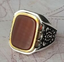 Authentic Turkish Ottoman Red Agate Gemstone  Solid 925 Sterling Silver Ring