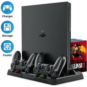 2020 PS4 Slim Pro Multifunctional Stand 2 Controller Charging Dock Cooling Fan