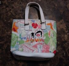 Talbots White leather Trim and fabric handbag Pastel Colors