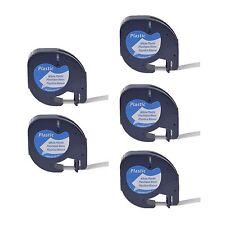 5PK Plastic Tape for DYMO Letra Tag Plus LT100H LT 91331 Black on White Label