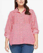 NWT~TOMMY HILFIGER~CORAL/IVORY CREPE GEOMETRIC BLOUSE/SHIRT/TOP~SIZE 3X~NEW