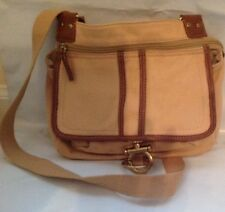 Vintage khaki Canvas & Brown Leather Messenger Style Handbag, Purse, Accessory