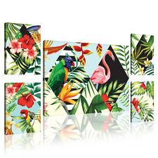 SET (5 teilig) Leinwandbild Flamingo  PALMEN Abstraktion Natur Blumen 11126 S14