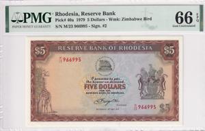 1979 Rhodesia 5 Dollars P-40a PMG 66 EPQ Gem UNC