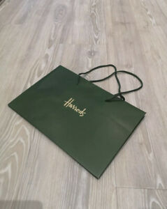 Harrods High Quality Gift Carrier Paper Bag Green Gold with Ribbon