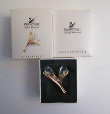 New Swarovski Crystal Calla Lily 2 Faceted Lilly Flower Brooch Pin Swan Logo Nib