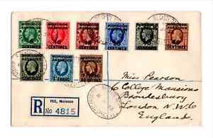 Morocco Agencies 1935/37 KGV French Currency Set of 9 on Registered Cover