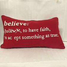 BELIEVE Holiday Pillow Knife Edge Red Plaid 22 1/2 X 13 Christmas