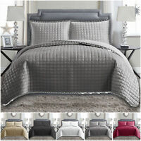Embossed Bedspread Quilted Bed Throw Comforter Bedding Coverlet & Pillow Shams