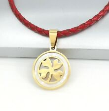 Gold Irish Celtic Four Leaf Clover Shell Pendant Braided Red Leather Necklace