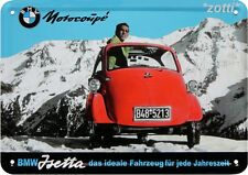 Blechpostkarte 10 cm x 14,5 cm BMW Isetta Motorcoupe Coupe Reklame #