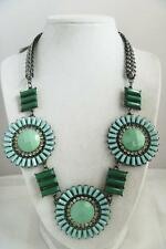 NEW NWT Cookie Lee AQUA Blue Mint GREEN FLOWERS Crystal STATEMENT Club Necklace!
