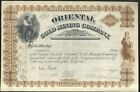 1881 STOCK CERTIFICATE, ORIENTAL GOLD MINING CO. NEW YORK, 50 SHARES AT $25