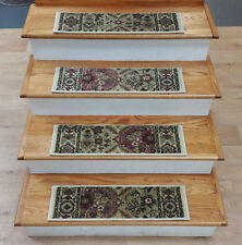 """Rug Depot 13 Traditional Non Slip Carpet Stair Treads 26""""x7.5"""" Ivory Stair Rugs"""