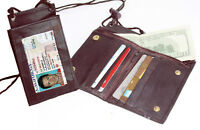 Brown Leather ID Badge Bifold  Neck Strap Wallet Lanyard Card Money Holder Zip
