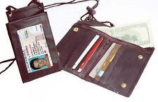 BROWN LEATHER Bifold WALLET ID Badge Window Pocket Card Holder Zip Neck Strap