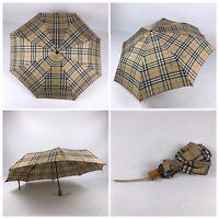 RARE VTG BURBERRYS Nova Check Plaid Umbrella Biege Burberry