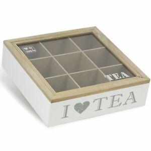 Aufbewahrungsbox für Teebeutel - weiße Tee-Box aus Holz mit 9 Fächern